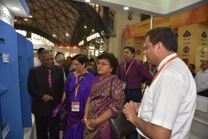 Dignitaries inspecting the products on dispaly at SAIL stall