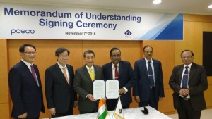 From Left to Right: Sung, MD, POSCO-India; Dr. Kwon Chairman cum CEO, POSCO; Dr. Chang, CTO, POSCO; Raman, Director(Technical), SAIL,  P.K. Singh, Chairman, SAIL;  R.K. Rathi, CEO, ISP, Burnpur, SAIL